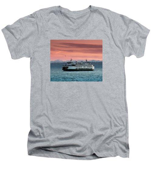 Ferry Cathlamet At Dawn.1 Men's V-Neck T-Shirt by E Faithe Lester