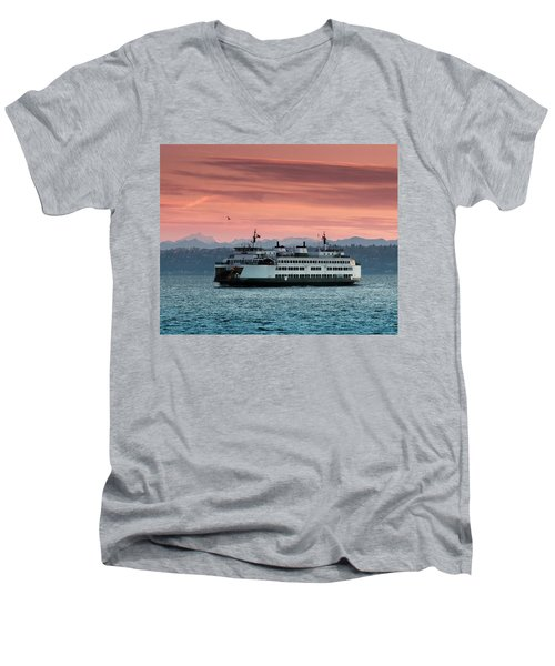 Ferry Cathlamet At Dawn.1 Men's V-Neck T-Shirt