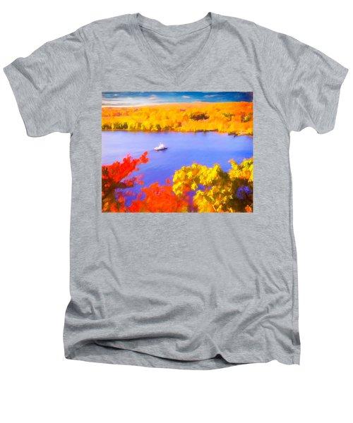 Ferry Crossing Connecticut River. Men's V-Neck T-Shirt