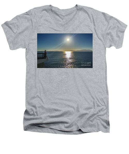 Ferry To The San Juan's Men's V-Neck T-Shirt by William Wyckoff
