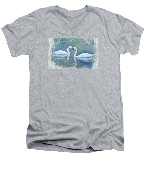 Festive Swan Love Men's V-Neck T-Shirt by Diane Alexander