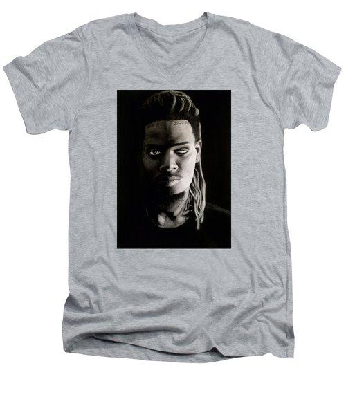 Fetty Wap Drawing Men's V-Neck T-Shirt by Angelee Borrero