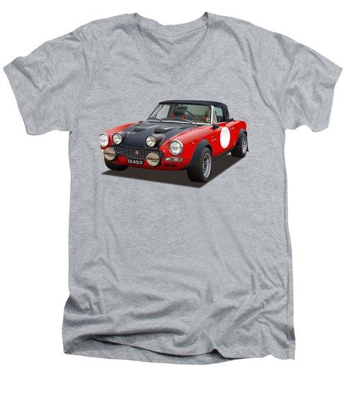 Fiat 124 Abarth Rally Illustration Men's V-Neck T-Shirt