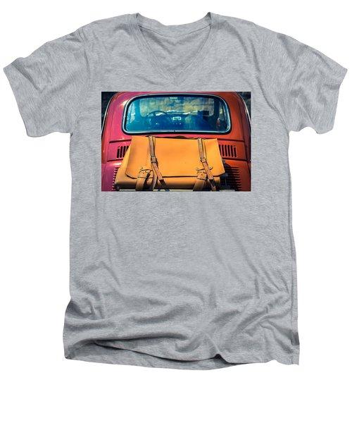 Fiat 500 Men's V-Neck T-Shirt by Cesare Bargiggia