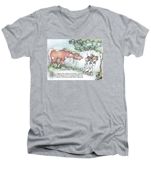 Men's V-Neck T-Shirt featuring the painting Fickle Creatures Foto by Dawn Sperry