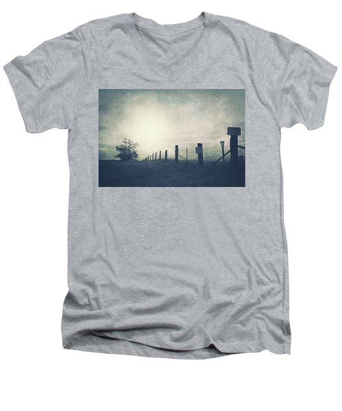Field Beyond The Fence Men's V-Neck T-Shirt