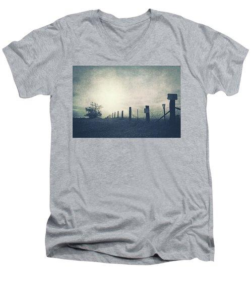 Field Beyond The Fence Men's V-Neck T-Shirt