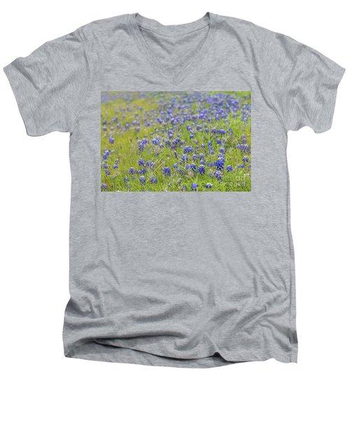 Field Of Blue Bonnet Flowers Men's V-Neck T-Shirt