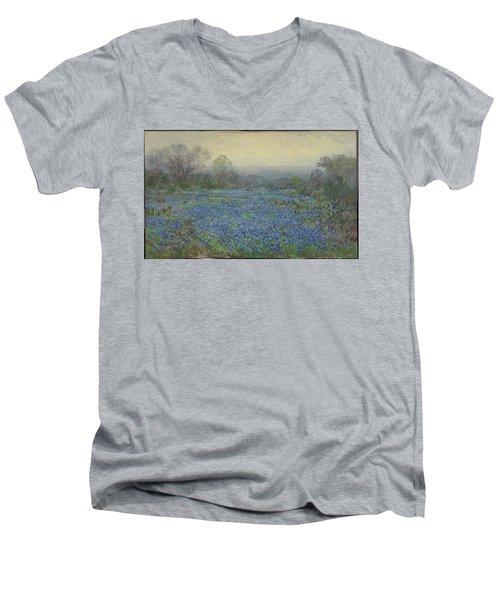 Field Of Bluebonnets Men's V-Neck T-Shirt by Julian Onderdonk