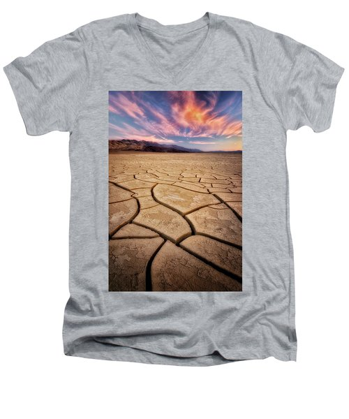 Field Of Cracks Men's V-Neck T-Shirt by Nicki Frates