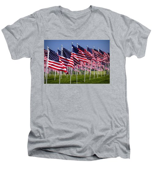 Field Of Flags For Heroes Men's V-Neck T-Shirt