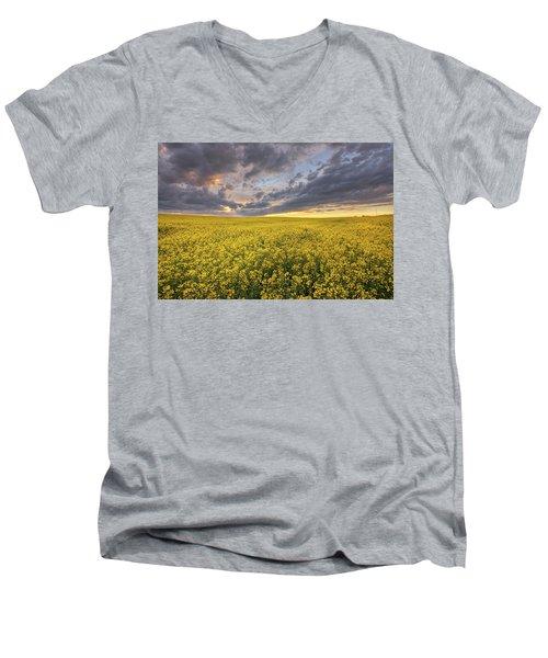 Men's V-Neck T-Shirt featuring the photograph Field Of Gold by Dan Jurak