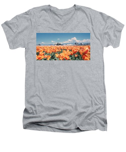 Field Of Orange Men's V-Neck T-Shirt