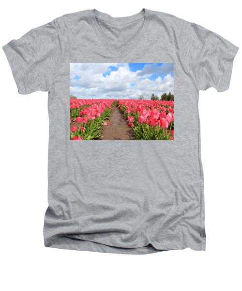 Field Of Pink Men's V-Neck T-Shirt