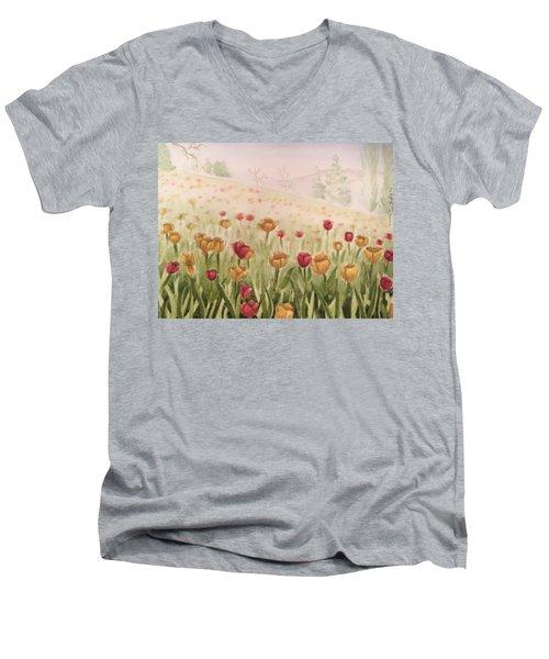 Field Of Tulips Men's V-Neck T-Shirt