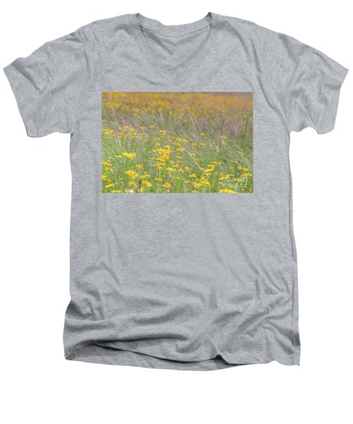 Field Of Yellow Flowers In A Sunny Spring Day Men's V-Neck T-Shirt