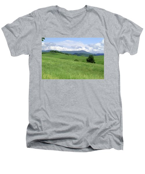 Men's V-Neck T-Shirt featuring the photograph Fields And Hills  by Emanuel Tanjala
