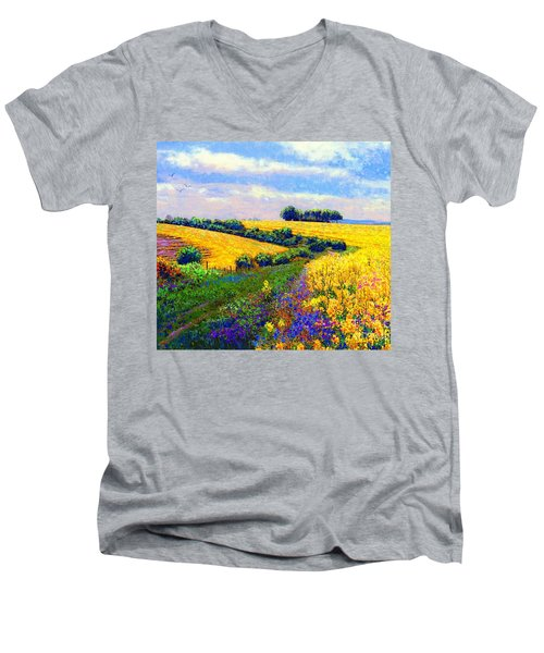 Men's V-Neck T-Shirt featuring the painting Fields Of Gold by Jane Small