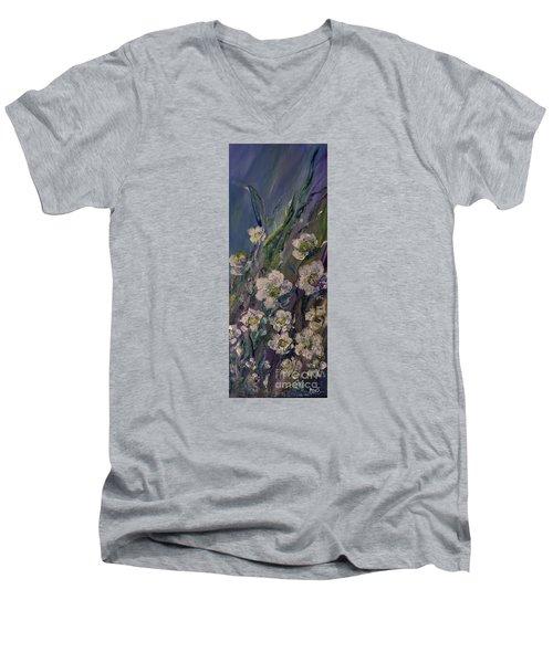 Fields Of White Flowers Men's V-Neck T-Shirt