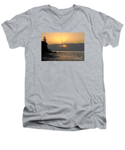 Men's V-Neck T-Shirt featuring the photograph Fiery Eyes by Sandra Updyke