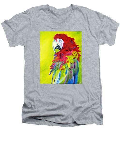Fiery Feathers Men's V-Neck T-Shirt by Meryl Goudey