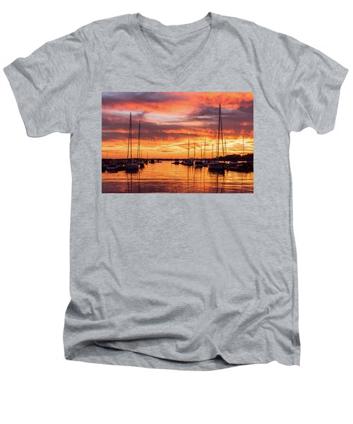 Fiery Lake Norman Sunset Men's V-Neck T-Shirt by Serge Skiba