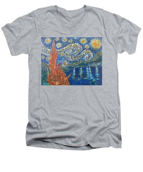Fiery Night Men's V-Neck T-Shirt