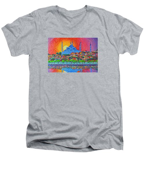 Fiery Sunset Over Blue Mosque Hagia Sophia In Istanbul Turkey Men's V-Neck T-Shirt by Ana Maria Edulescu