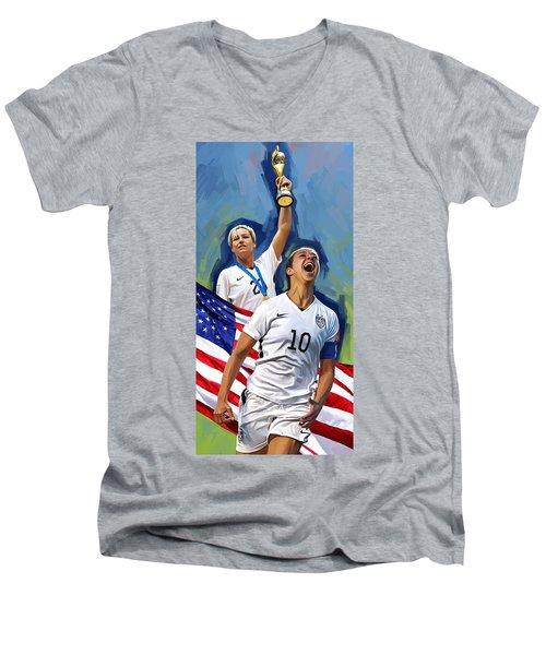 Men's V-Neck T-Shirt featuring the painting Fifa World Cup U.s Women Soccer Carli Lloyd Abby Wambach Artwork by Sheraz A