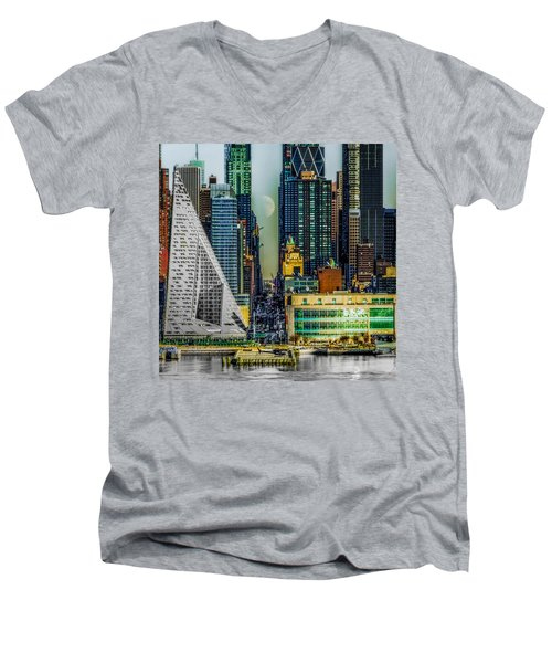 Men's V-Neck T-Shirt featuring the photograph Fifty-seventh Street Fantasy by Chris Lord