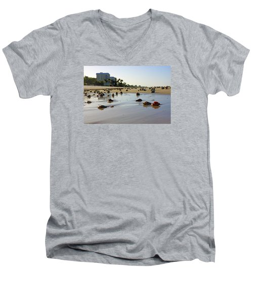 Men's V-Neck T-Shirt featuring the photograph Fighting Conchs At Lowdermilk Park Beach In Naples, Fl  by Robb Stan