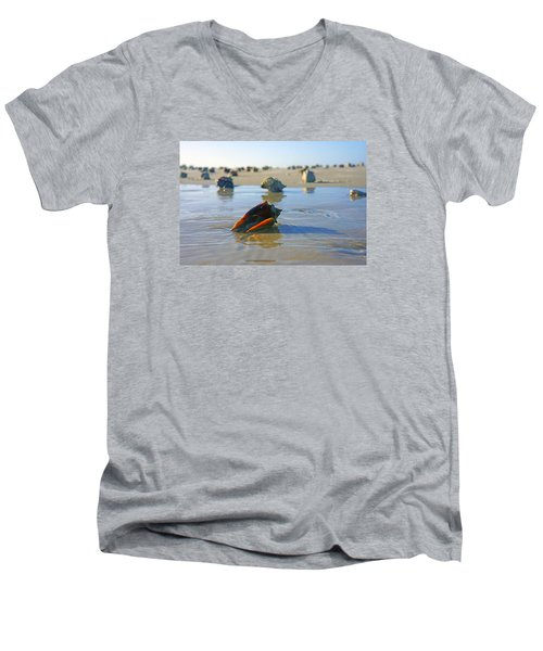 Men's V-Neck T-Shirt featuring the photograph Fighting Conchs On The Sandbar by Robb Stan