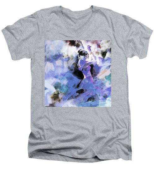 Men's V-Neck T-Shirt featuring the painting Figurative Dance Art 509w by Gull G