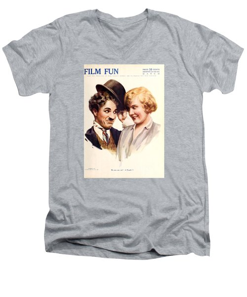 Film Fun Classic Comedy Magazine Featuring Charlie Chaplin And Girl 1916 Men's V-Neck T-Shirt