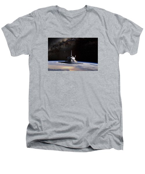 Final Frontier Men's V-Neck T-Shirt by Peter Chilelli