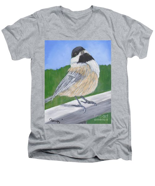 Finch Men's V-Neck T-Shirt by Patricia Cleasby