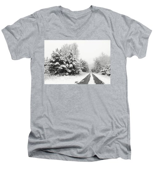 Men's V-Neck T-Shirt featuring the photograph Find A Pretty Road by Lori Deiter