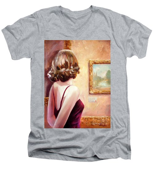 Fine Art Gallery Opening Night Men's V-Neck T-Shirt by Michael Rock