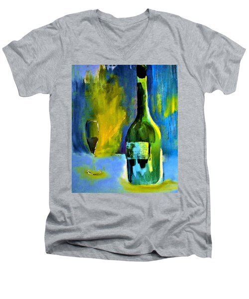 Men's V-Neck T-Shirt featuring the painting Fine Wine Glow by Lisa Kaiser