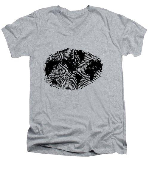 fingerprint 20X30 Men's V-Neck T-Shirt by Sassan Filsoof