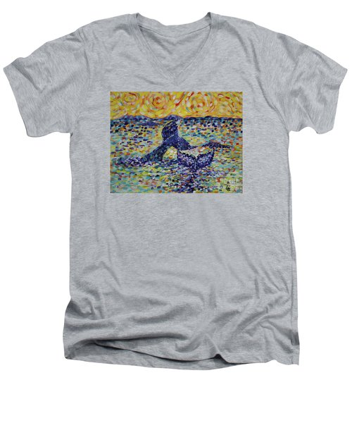 Men's V-Neck T-Shirt featuring the painting Fintastic by Cynthia Lagoudakis