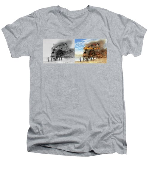 Men's V-Neck T-Shirt featuring the photograph Fire - Cliffside Fire 1907 - Side By Side by Mike Savad