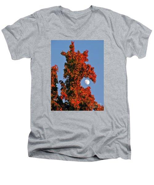 Fire Dragon Tree Eats Moon Men's V-Neck T-Shirt by CML Brown