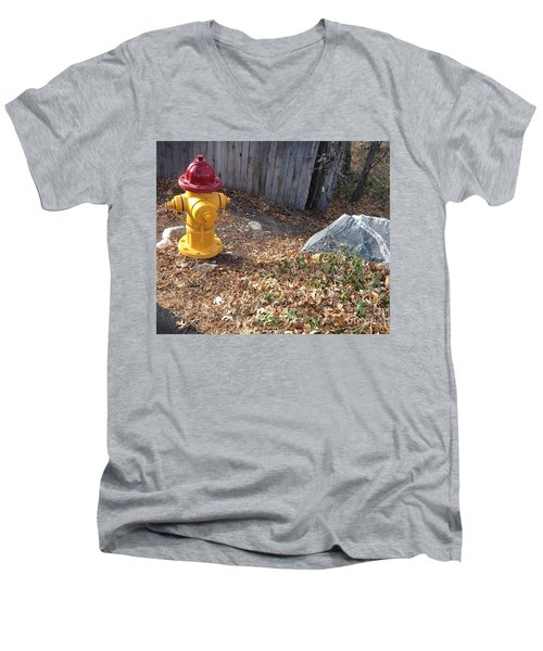 Men's V-Neck T-Shirt featuring the photograph Fire Hydrant Checking Its Facerock by Richard W Linford