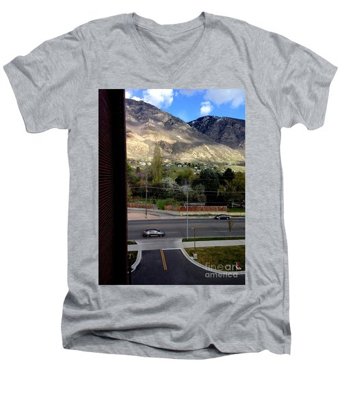 Men's V-Neck T-Shirt featuring the photograph Fire Hydrant Guarding The Byu Y by Richard W Linford