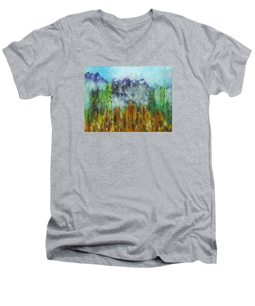 Fire In Glacier Park Men's V-Neck T-Shirt