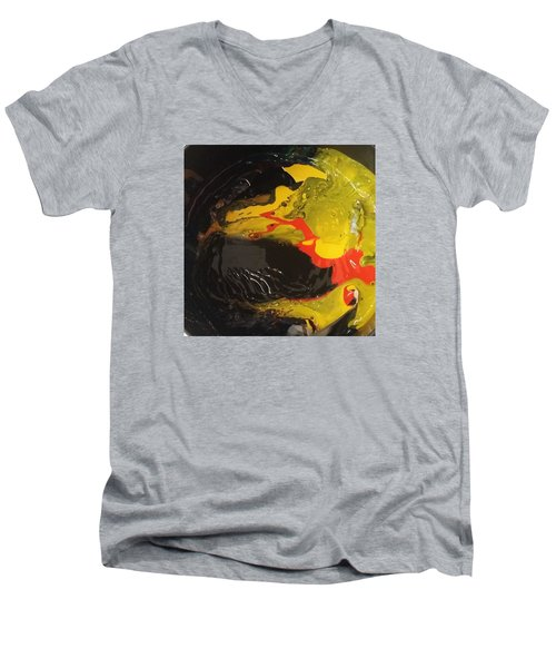 Fire In Soot Men's V-Neck T-Shirt by Gyula Julian Lovas