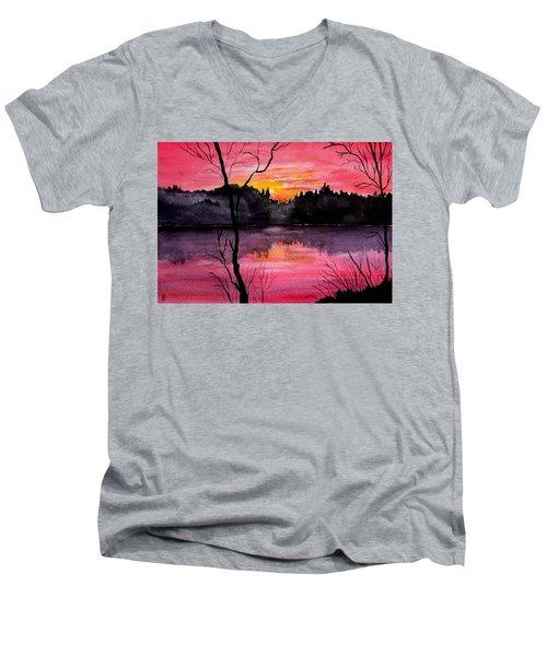 Fire In The Sky    Lake Arrowhead Maine Men's V-Neck T-Shirt
