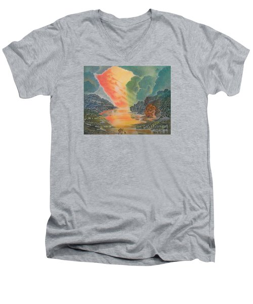 Fire In The Sky 2 Men's V-Neck T-Shirt