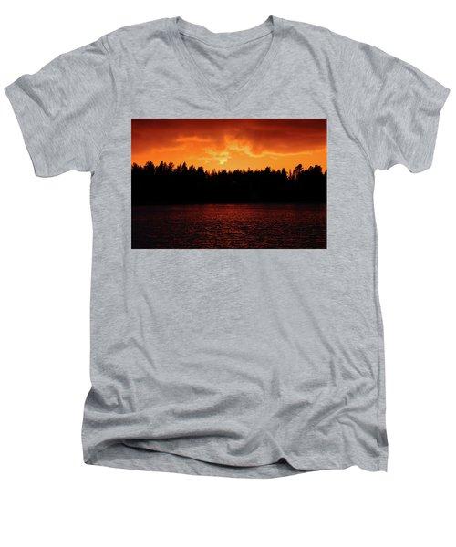 Fire In The Sky Men's V-Neck T-Shirt by Teemu Tretjakov
